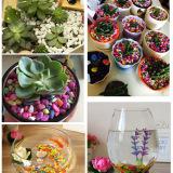 盆栽装饰 园艺用品 彩色小石头 家居插花装饰五